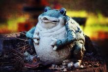 Frog Statue In The Garden