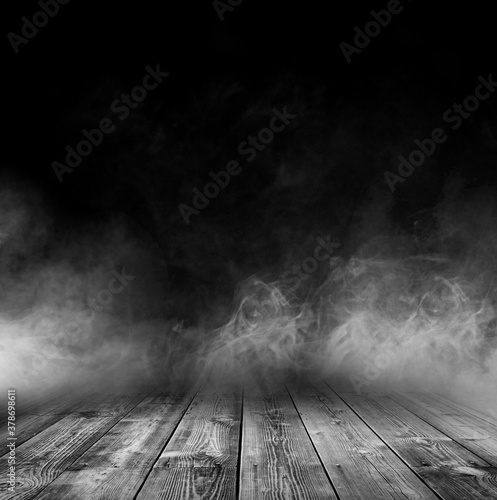 Wooden table with smoke and black backgrounds Wallpaper Mural