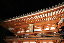 Entrance Gate Of Okadera Temple At Night, In Asuka
