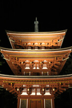 Tower Of Okadera Temple At Night, In Asuka