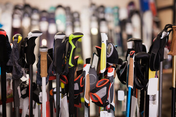 Interior sporting goods store with large assortment of ski poles, nobody