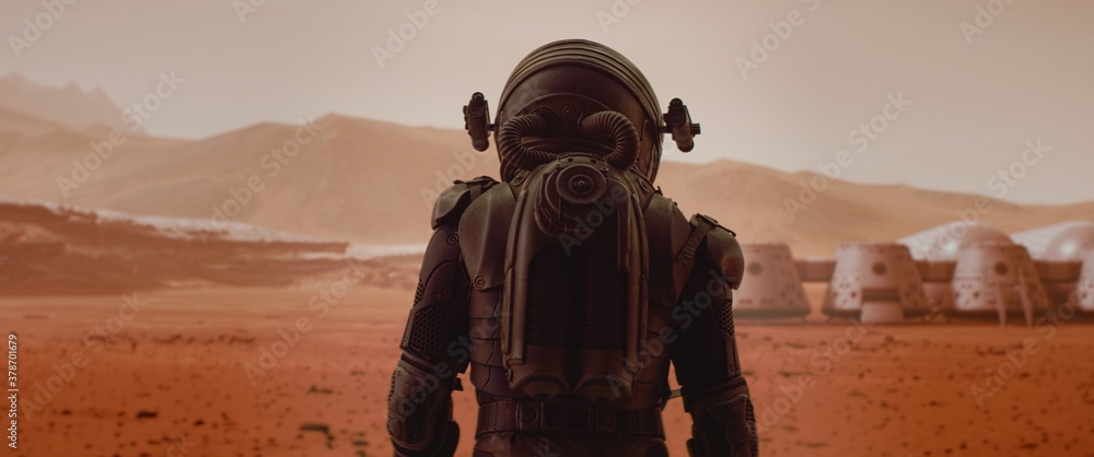 Fototapeta Back view of astronaut wearing space suit walking on a surface of a red planet. Martian base and rover in the background. Mars colonization concept