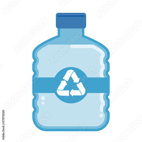 Fototapeta Vector flat plastic water bottle carboy with recycle symbol