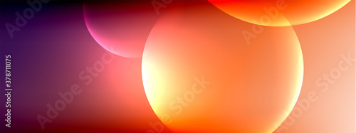 Vector abstract background liquid bubble circles on fluid gradient with shadows and light effects. Shiny design templates for text - 378711075