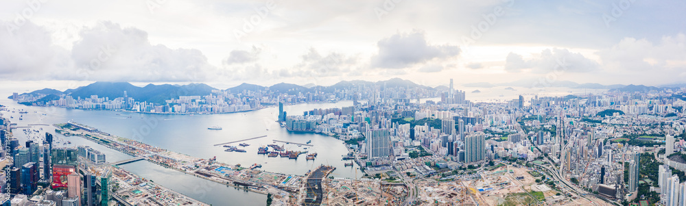 Fototapeta epic aerial view of cityscape in Kowloon district, Hong Kong, daytime