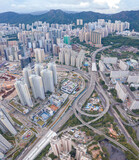 epic aerial view of cityscape in Kowloon district, Hong Kong, daytime
