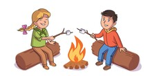 Kids On Camping Trip. Little Boy And Girl Scouts Roast Marshmallows On Campfire. Outdoor Adventure Scene Vector Illustration. Cute School Students On Summer Vacation