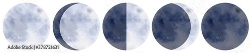 Obraz 水彩の月 満ち欠けのイメージ - fototapety do salonu