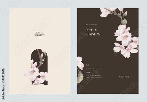 Fototapeta Floral wedding invitation card template design, Somei Yoshino sakura flowers obraz