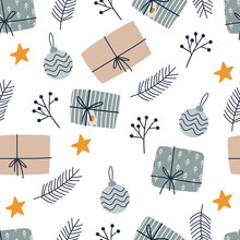 Christmas Seamless Pattern With Gifts. Cozy Winter Illustration For Fabric, Wrapping Paper, Scrapbooking, Textile, Web, Banner, Poster And Other Christmas Design. Flat Style Hygge Winter Pattern.