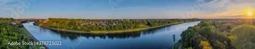 Fotografía Panorama aerial view of the Levensau High Bridge that spans the Kiel Canal in Ki