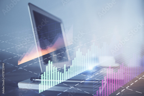 Forex Chart hologram on table with computer background. Double exposure. Concept of financial markets. - 378723846