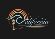 California,Santa Monica Beach Stylish T-shirt And Apparel Trendy Design With Palm Trees Silhouettes, Typography, Print, Vector Illustration. Global Swatches.