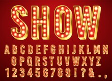 Gold Bulb Light Font. Glowing Retro Alphabet Letter, Numbers And Marks Collection With Shiny Bright Lights. ABC Design On Dark Red Background For Cinema, Broadway And Night Club Vector Illustration