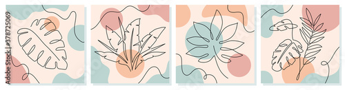 One line leaves. Tropical exotic plants with continuous line leaf and trendy organic shapes of pastel colors vector abstract doodle posters. Modern minimal botanical foliage drawing