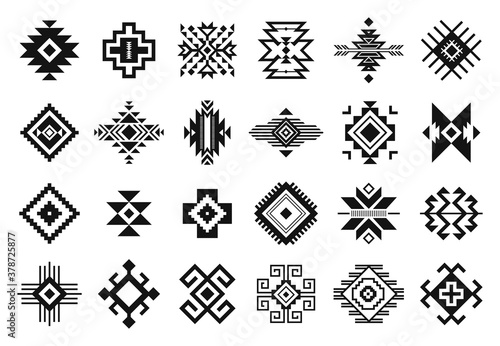 Obraz Tribal elements. Monochrome geometric american indian patterns, navajo and aztec, ethnic ornament for textile decorative ornament vector set. Black cultural national symbols, art decoration - fototapety do salonu