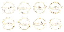Stardust Golden Logo Set. Shiny Circle Frames With Stars And Glowing Glitter. Round Border For Company Name, Brand. Place For Text Inside Wreath. Starry Shape Template Collection Vector Illustration