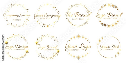 Fototapeta Stardust golden logo set. Shiny circle frames with stars and glowing glitter. Round border for company name, brand. Place for text inside wreath. Starry shape template collection vector illustration obraz