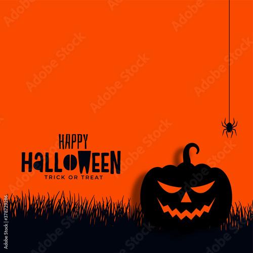 Fototapeta happy halloween pumpkin and spider background obraz