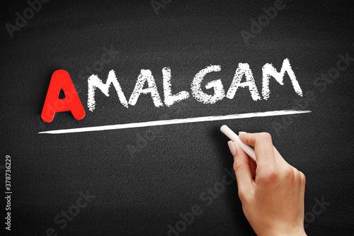 Fotografering Amalgam text on blackboard, concept background