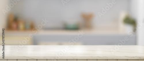 Fototapeta Empty marble counter in kitchen room, kitchen island, marble desk, kitchen table obraz