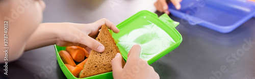 Fototapeta cropped view of schoolgirl taking toast from lunch box with fresh carrots, horizontal concept obraz