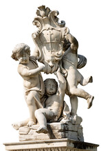 Putti Fountain Isolated On Whi...