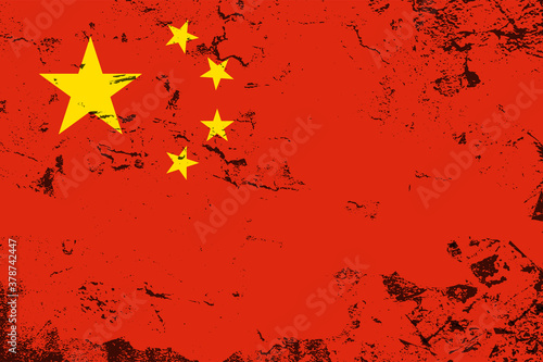 Photo National China flag with grunge texture