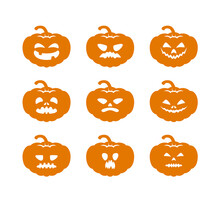 Halloween Pumpkins With Different Scary Faces And Smiles Set. Templates For Laser Cutting, Paper Cutting Or Stencil Cutting. Vector Illustration.