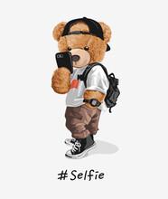 Cute Bear Toy Taking Selfie Illustration