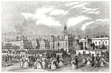 Old Horse Guards Parade And Old Admiralty, London, On Big Outdoor Square With Buildings On Background. Ancient Engraving Style Art By Unidentified Author, The Penny Magazine, London 1837