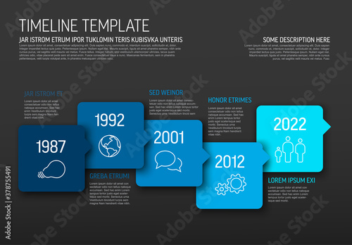 Fototapeta Vector Infographic blue horizontal timeline template obraz