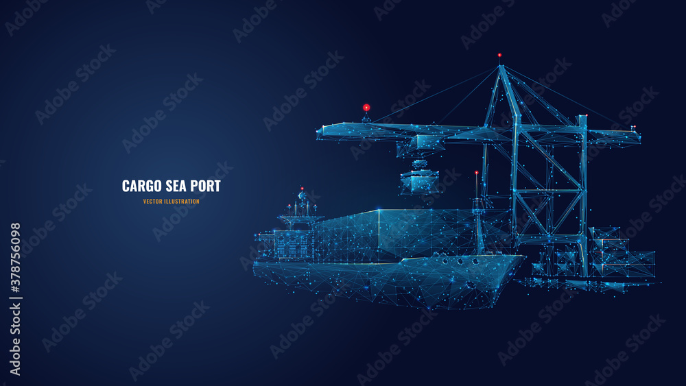 Fototapeta Digital polygonal cargo sea port. 3d ship, port crane and containers in dark blue. Container ships, transportation, logistics, business or worldwide shipping concept. Abstract vector mesh illustration