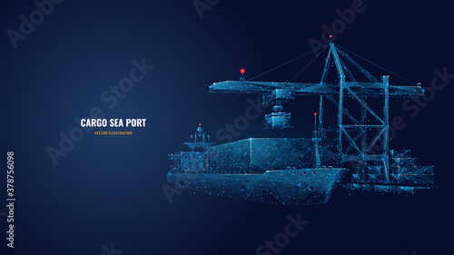 Fototapeta Digital polygonal cargo sea port. 3d ship, port crane and containers in dark blue. Container ships, transportation, logistics, business or worldwide shipping concept. Abstract vector mesh illustration obraz