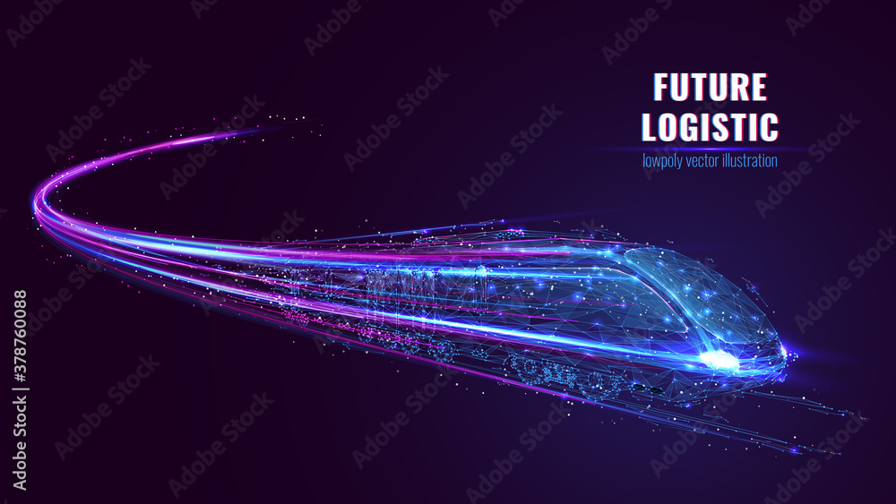 Fototapeta Digital low poly wireframe of futuristic high-speed train. Future logistics, modern technology, transport concept. Abstract 3d blue and purple illustration with connected dots. Vector color mesh