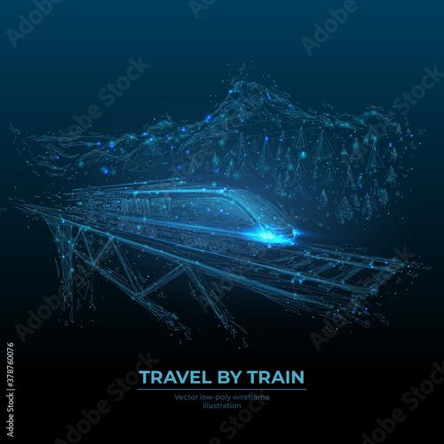 Obraz na płótnie Abstract polygonal high-speed train on rail bridge in dark blue