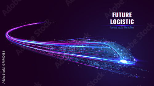 Fototapeta Digital low poly wireframe of futuristic high-speed train. Future logistics, modern technology, transport concept. Abstract 3d blue and purple illustration with connected dots. Vector color mesh obraz