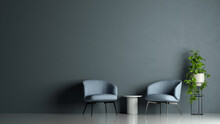 Two Armchairs In Front Of Wall In Lounge Waiting Area