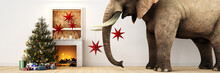 Elephant With Fireplace And Ch...