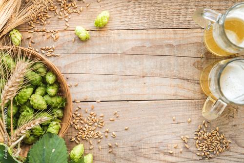Fototapeta Oktoberfest festival beer background. Malt and hops craft beer brewing background with copy space. obraz