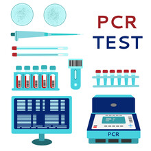 The Concept Of The PCR Technique. Laboratory Equipment: PCR Amplification And Express Test, Smear, Computer, Automatic Pipette, Test Tubes, Petri Dish. Vector Illustration. Flat Style