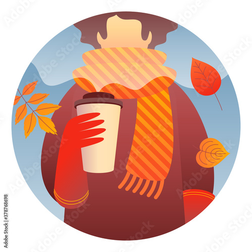 Fotomural A woman character holding hot coffee to go, wearing red gloves, a brown coat, and a striped yellow-orange scarf walks outdoor with autumn leaves around her