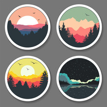 Colorful Landscape, Wild Nature Outdoor Stickers, Emblem Templates, Forest, Mountains, Lake, Sunset And Birds