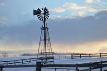 An Old Metal Farm Wind Mill, T...