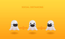 Happy Halloween 2020 Social Distancing Tips. Cute 3d Ghost Wearing Face Mask. Vector Illustration For Background Or Landing Page.