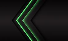 Abstract Green Neon Light Arrow Direction On Dark Grey Metallic With Blank Space Design Modern Luxury Futuristic Background Vector Illustration.