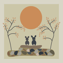 Two Bunny Sit Together With  Beautiful Scenery Vector,eps10.full Moon And Trees.Chuseok Icon.eps10
