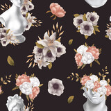 Floral raster seamless pattern. Botanical motifs with greek statue . Illustration with flowers can be used for wallpapers, pattern fills, web page backgrounds,surface textures. Gorgeous flowers - 378783088