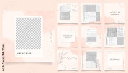 social media template banner fashion sale promotion. fully editable instagram and facebook square post frame puzzle organic sale poster. pink red vector background