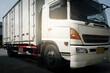 Truck cargo container on parking. Cargo freight, Shipment, Delivery service. Logistics and transportation.